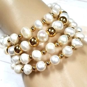 Freshwater Pearl Gold-Plated Wrap Bracelet